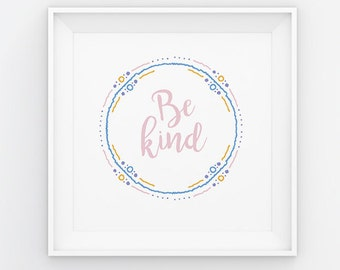 Nursery Heart Print Be Kind Love Girl Bedroom Poster Home Decor Gender Neutral