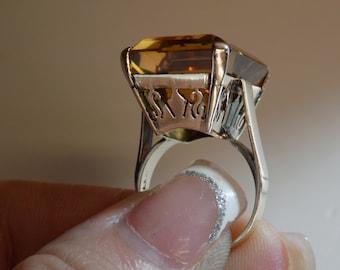 14kt Vintage 1940's Hollywood Regency 25ct Orange Topaz Ring