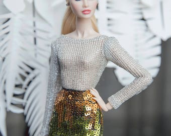"Silver Jumpsuit and sequin green skirt for Fashion royalty , nuface, poppy parker , barbie silkstone , fashion doll 12"" same size"