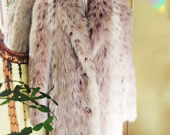 Vintage Faux Fur Snow Leopard Coat