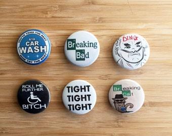 Breaking Bad Pin Set, TV Show Buttons, AMC Breaking Bad Magnet Set, Walter White Gift, Breaking Bad Gift for Him, Jesse Pinkman, Heisenberg