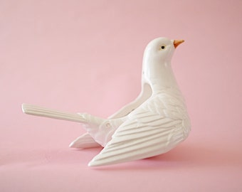 Vintage Ceramic   1970's Fitz & Floyd, MCML XXVI FF   Ceramic White Bird   Pigeon   Hand-painted