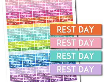 Rest day stickers, Rest day planner stickers, Rest day printable stickers, Rest day weekly stickers, Rest day monthly stickers, STI-679