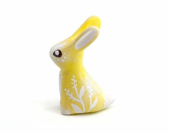 Yellow hare figure rabbit figurine animal totem figure fantasy creature velvet clay polymer clay figurine clay miniature Easter gift for her