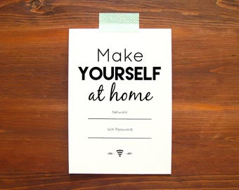 Wifi Password Printable | Make Yourself At Home | Housewarming Gift | Be Our Guest | Guest Room Wifi | Instant Download | Internet Password