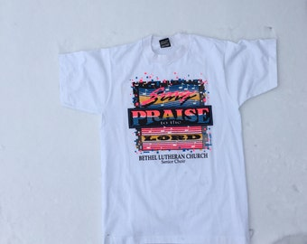 90s vintage neon Tee 'sing praise to the lord'