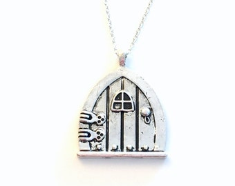 Door Necklace, Fairy tale Jewelry, Hobbit Door Necklace Fairy Wish Door Pendant, Silver Door Jewelry, Silver Door Charm birthday present 189