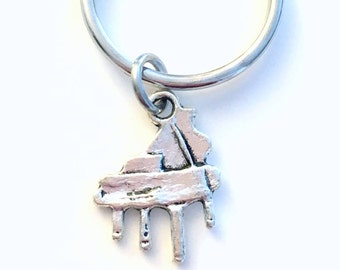 Gift for Pianist Key Chain, Piano Keychain, Orchestra Band Instrument, Player Music Charm Purse, Silver Keyring Men women Girl Boy Organ him