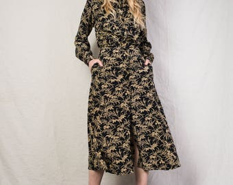 AMAZING Vintage Black Beige Floral Silk Maxi Dress / XS / hipster long shirt dress festival dress long sleeve dress button up dress