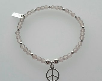 Peace Bracelet, Sterling Silver Peace Bracelet, Silver Peace Bracelet, Silver Peace, Peace Charm, Gift For Her