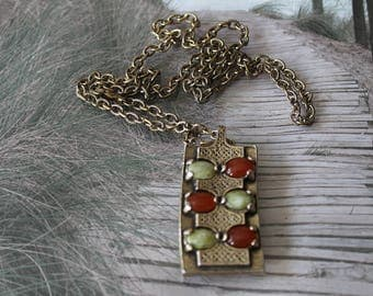 Celtic pendant with coloured stones and bronze chain. Vinatge chic
