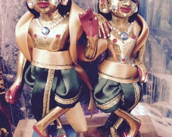 Krishna and Balaram Green and Gold Outfits