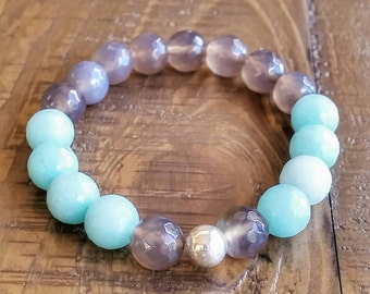 Amazonite and grey Agate Bracelet, stretch, elastic, stackbracelet, handmade