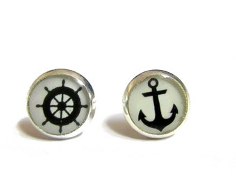 ANCHOR EARRINGS - Silver - Navy Blue - Nautical Earrings - Gifts Under 10