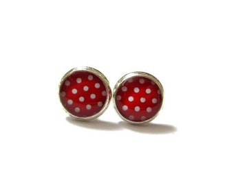 RED STUD EARRINGS - Red Polka Dots Earring Studs - Bright Pink - Resin Jewelry - Silver Toned Earrings - Posts - Girl Jewelry