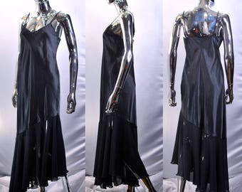 Long Black Slip | Shiny Black Slip Dress By Colesce Couture Made in USA. Spaghetti Strap Design, Semi Sheer Bottom. Night Gown, Sleep Wear