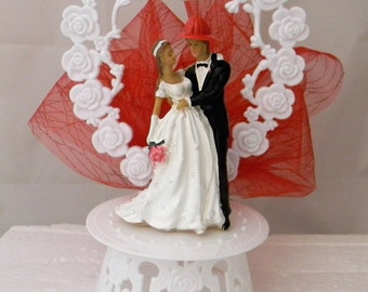 Wedding Reception Ceremony Party Fireman and Bride Cake Topper