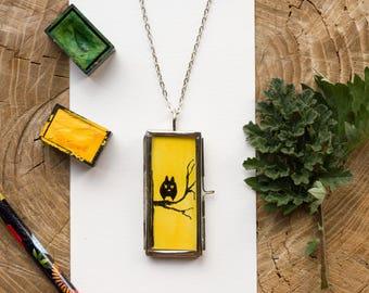 owl copper necklace owl pendant owl necklace yellow necklace animal necklace antiqued copper jewelry handmade necklace watercolor pendant