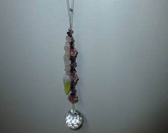 Crystal prism with amethyst and pink beading & yellow feathers