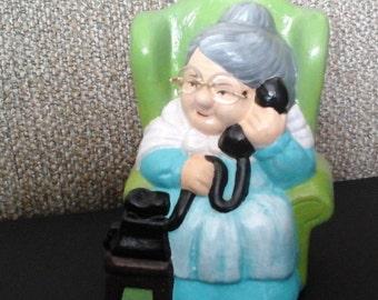 Grandma Coin Bank, Grandma on Telephone Ceramic Coin Bank, Granny with Glasses Bank