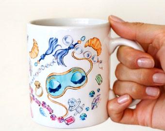 Coffee Tea Mugs, Fashion Drawing, Breakfast At Tiffany's Mug, Audrey Hepburn Mask, Tiffany Mug, Tiffany sleep mask, Tiffany Blue, Cute Mugs