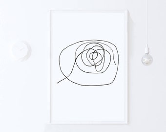 Large Minimalist Art Print, Modern Minimalist Black and White Abstract Line Art DIGITAL DOWNLOAD Art, Abstract Wall Art, PRINTABLE Art 24x36