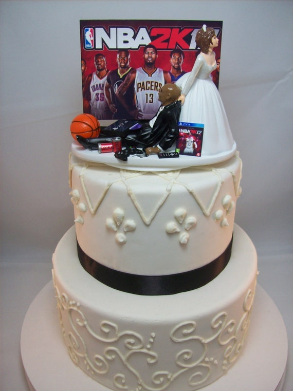 funny wedding cake topper 2k game over baketball gamer gaming. Black Bedroom Furniture Sets. Home Design Ideas