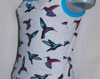 Top shirt ladies turquoise grey birds Gr. S 34 36