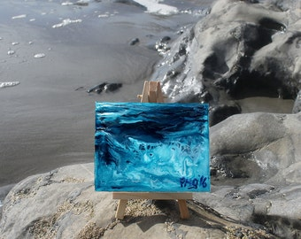 Deep Blue Surge - Little Easel Wax Painting