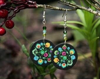 Polish folk earrings, flower earrings, green earrings, polish earrings, polish jewelry, black and green, yellow and green, leaf earrings
