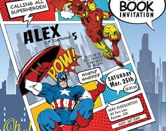 PRINTED Captain America VERSUS Iron Man Avengers Marvel Theme Comic Book Invitations