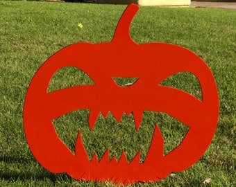 Scary Halloween Pumpkin 05, Halloween Lawn Decor, Jack O' Lantern, Metal Pumpkin, Outside Pumpkin, Garden Decor, Halloween Decor