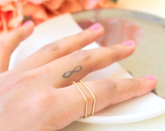 Square Stacking Ring. Two Gold & Silver Geometric Square Ring. Thin Rings. Geometric Rings. Minimalist Ring. Square Ring. Flat top Ring.