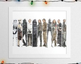 ROGUE ONE PRINT, Star Wars Rogue One, Star Wars, Jyn Erso, Darth Vader, Cassian Andor, K-2SO, Star Wars Poster, Rogue One, Digital Print