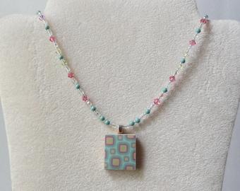 scrabble tile pendant, retro scrabble tile necklace, beaded necklace, beaded pendant, blue beaded pendant, resin pendant, seed bead necklace