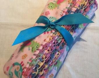 Baby Girl Flannel Blanket with handmade crochet edge, Baby Girl Gift, Baby Girl Shower Gift, Mrs. Dino