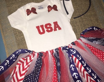 Patriotic Celebration Tutu,Onesie and coordinating headband