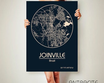 JOINVILLE Brazil CANVAS Map Joinville Brazil Poster City Map Joinville Art Print Joinville poster Joinville map art Poster Joinville map