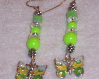 Butterfly Earrings. Mint Green with Crystals. Metal Butterfly.