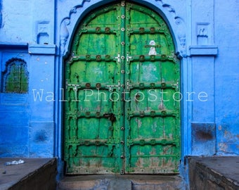 Door Photography, Old Green Wood Door in Blue City of Jodhpur, Rajasthan, India Photography, Fine Art Photography, India Print Art, Vertical