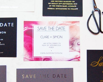 Wedding save the dates, geode save the dates, pink marble save the dates, personalised save the dates, mineral save the dates