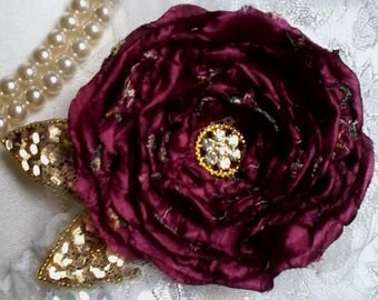 burgundy  silk rose brooch, flower brooch, romantic rose, floral pin, mother of the bride pin