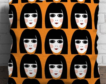 60s Girl linen cushion - Mod - Retro - 1960s - Pillow