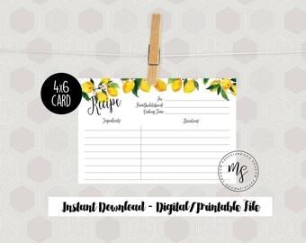 Recipe Cards | 4x6 | Kitchen Decor | Lemon | Printable/Digital File | Instant Download