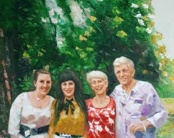 Family Portraits from Photo. Custom Portraits Paintings from Photo. Original Paintings on Canvas. Personalized Gift. Paintings Wall Decor