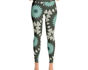 Mandala Art Leggings. Aquamarine and Forest Green Boho Yoga Pants. Turquoise Mandala Pattern Tribal Tights