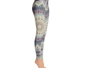 Mid Rise Printed Yoga Leggings - Womens Leggings, Boho Mandala Leggings Tights, Yoga Tights, Stretch Pants, Yoga Pants