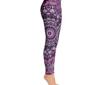 Funky Workout Pants - Unique Yoga Leggings, Wild Purple Mandala Leggings, Mandala Pants, Yoga Pants