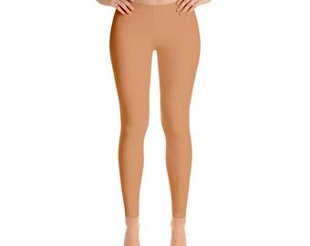 Persian Orange Leggings - Workout Wear, Mid Rise Waist Yoga Pants for Women