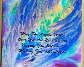 """Blue Angel Poster with Quote, 35x27.5cm, 14x11"""", Celestial Healing Art by Eva Maria Hunt - Angels, Healing, Love and Spiritual Protection"""